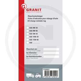 GRANIT Oil change reminder tag
